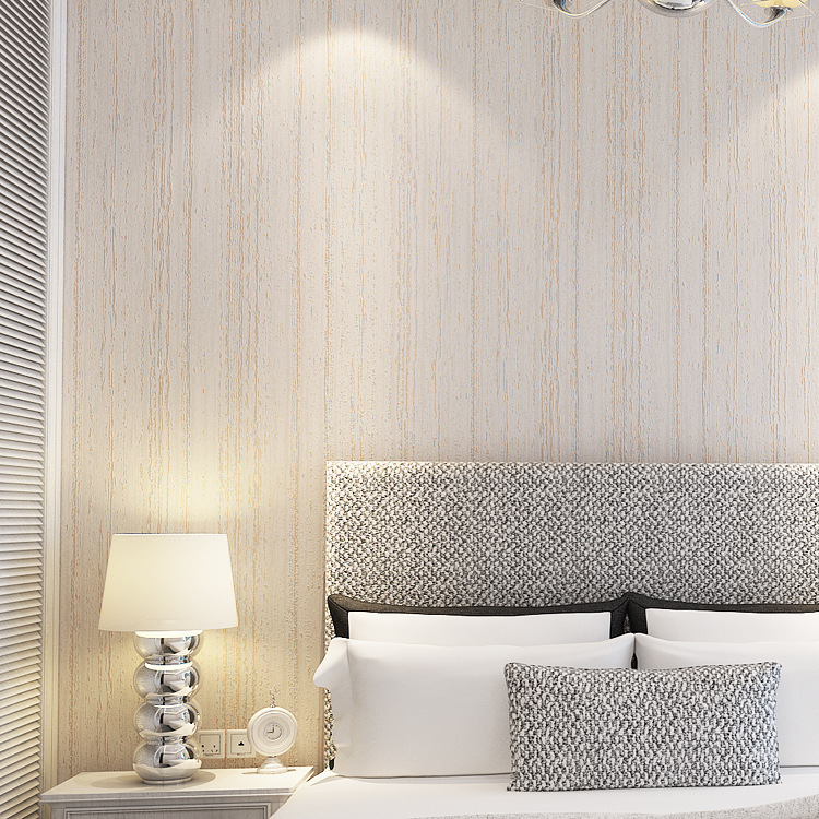 Bedroom Plain Wall Minimalist Concept Plain Woven Wallpaper Retro Minimalist Solid Wood Bedroom Living Room