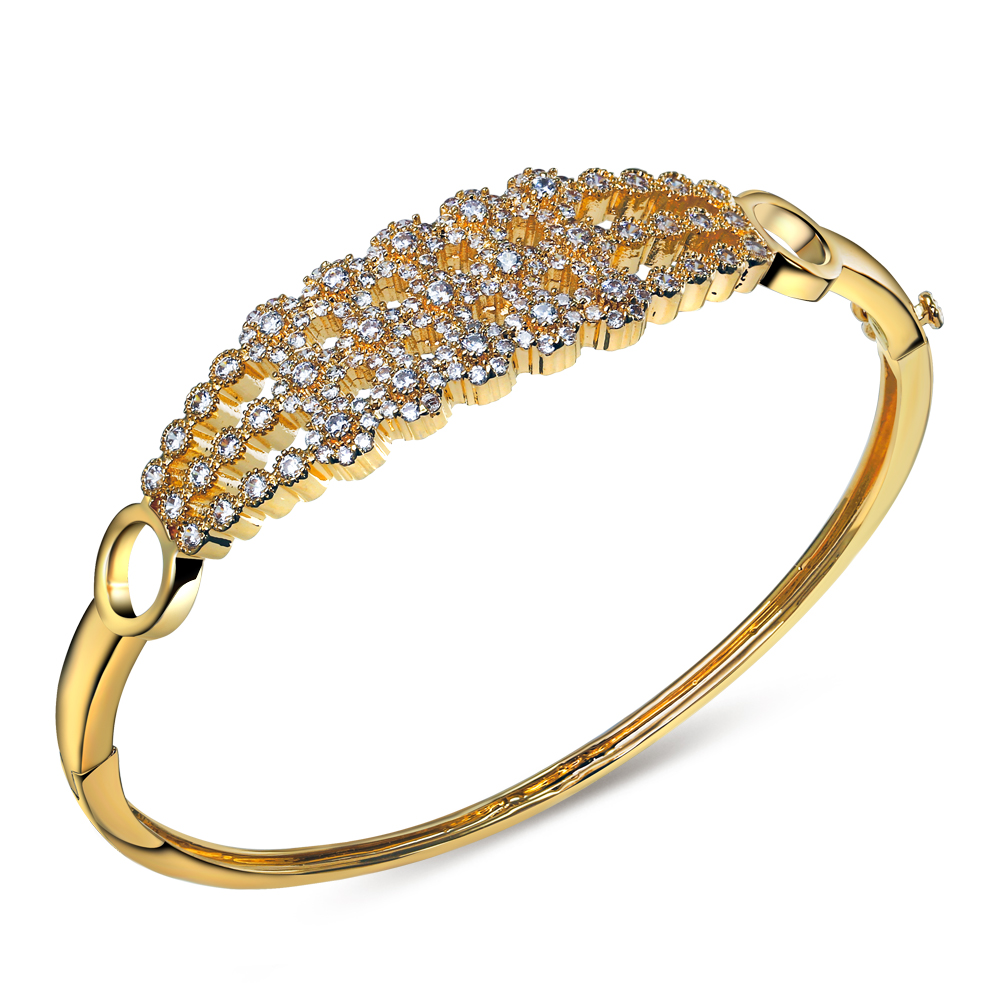 Luxury CZ Jewelry Wholesale New Trendy Platinum/ 18K Real Gold Plated Round Cubic Zirconia Bangle Bracelet Women Birthday Gift(China (Mainland))