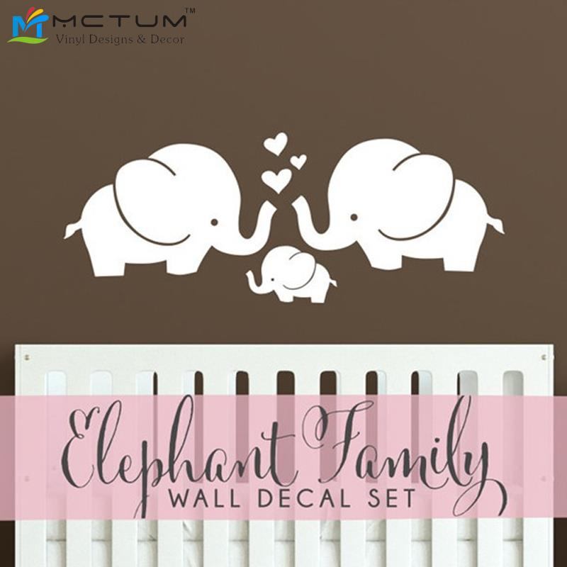 Modern Family Wall Decor : Cute elephant hearts family wall decals baby nursery decor