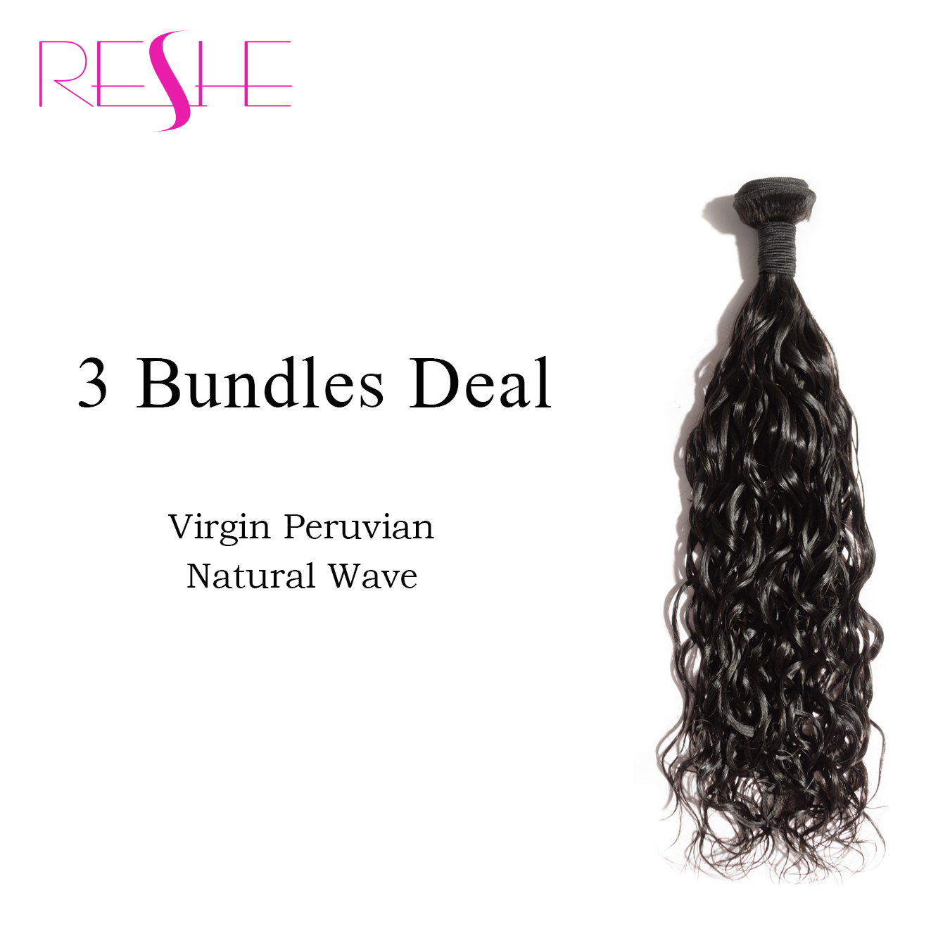 Фотография Reshe 8a Wet And Wavy Peruvian Virgin Hair Natural Wave 3Pc Reshe Hair Products Peruvian Hair Natural Wave Human Hair Weave