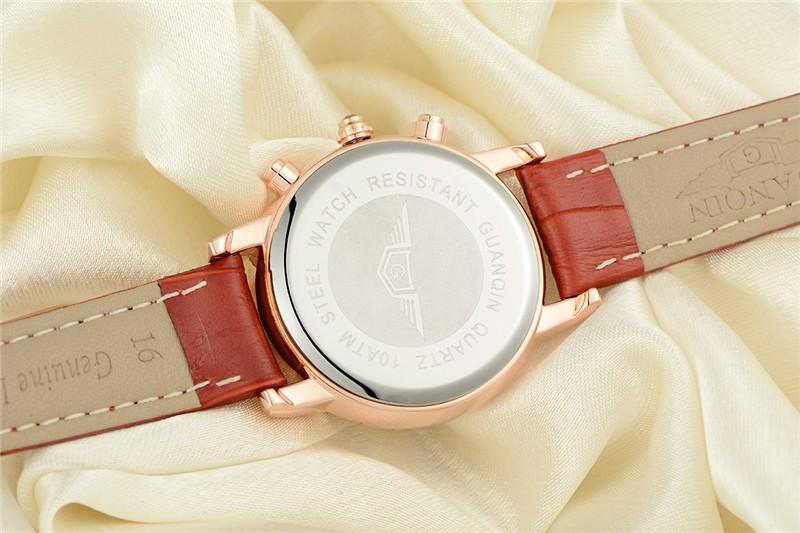 Relojes Mujer 2016 Бренд GUANQIN Часовой Моды Женщины Натуральная Кожа Кварцевые Часы Relogio Feminino Женщины Платье Часы Часы