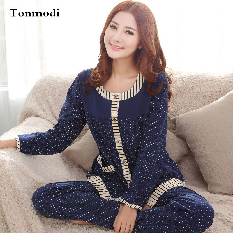 Pajamas Women Cotton Polka Dot Cardigan O-neck Sleepwear Lounge Wear Autumn Sexy Long-sleeved Pants Cotton Pyjamas