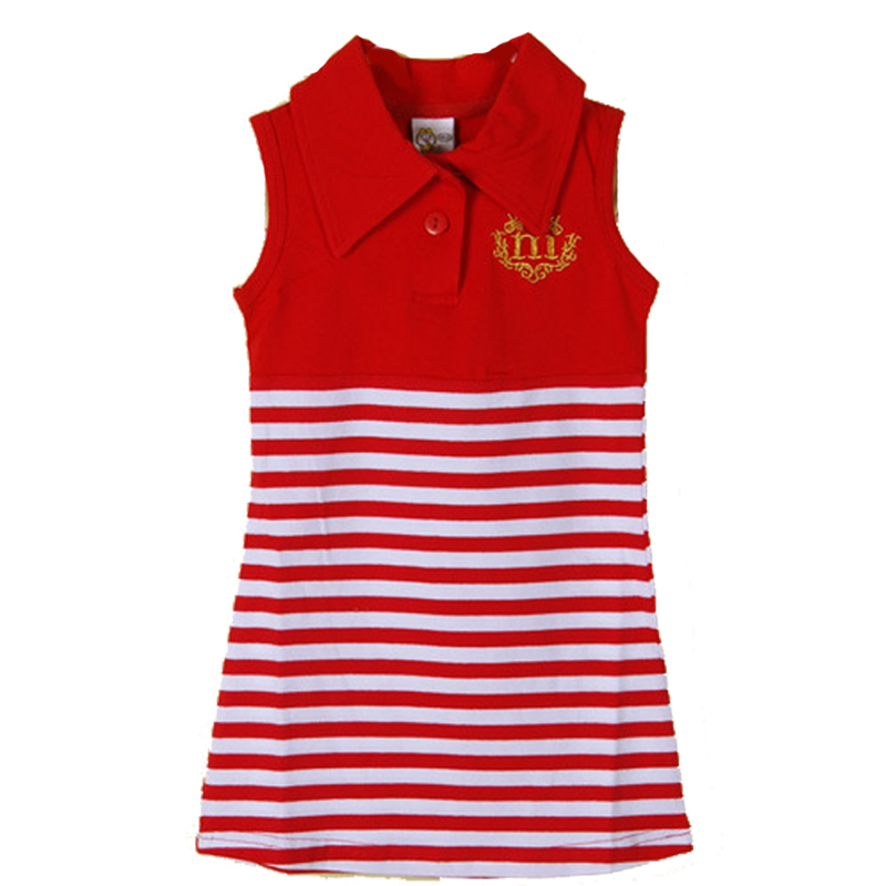 2015 Summer New 2-6Y Girl Sleeveless Halter Dresses Fashion Navy Striped Dress with Letter Embroidery V Neck Sundress Clothing(China (Mainland))