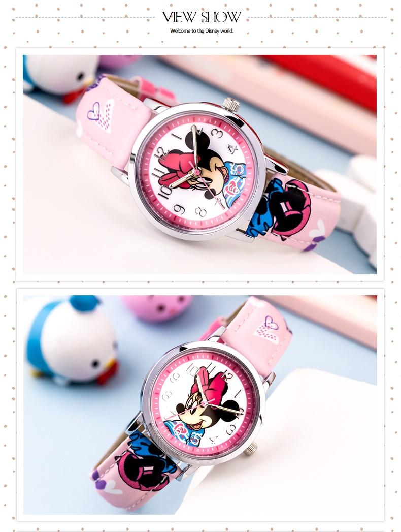 Дети наручные часы Мальчик в Девочке Disney Бренда Микки Мультфильм кварцевые 30 М водонепроницаемые часы Кожа Ребенка смотреть