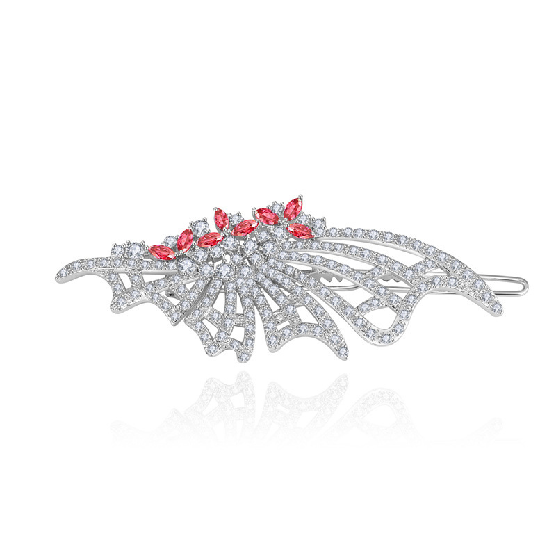 Luxury White Gold Plated Ruby / Emerald / Clear / Sapphire CZ Crystal Hairpins Barrettes Hair Accessories Jewelry Hot LH0021(China (Mainland))