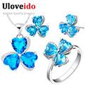 Ulvoeido 40 OFF Wedding Bridal Jewelry Set For Women Sapphire Ruby Purple Heart CZ Diamond Ring