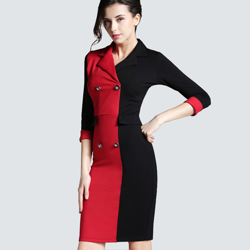 Turn-down Collar Sexy V Neck Pencil Contrast Color Fashion Autumn Winter Womens Casual Business Office Dress Work B273