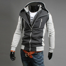 New 2013  autumn slim stand collar long-sleeve sweater male cotton color block stand collar fashion cardigan white