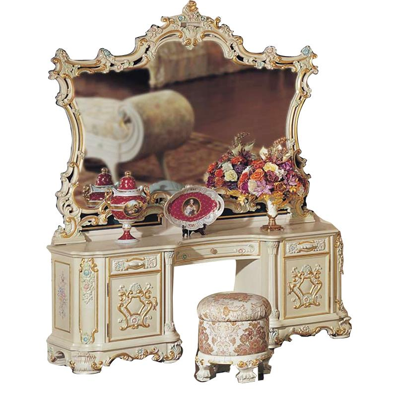 2015 Baroque Luxury Makeup Mirror Dressing Table Mirror European Classical Carved Wood Dressing ...