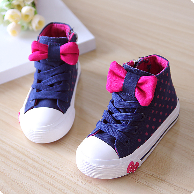 New 2015 spring/autumn canvas shoes children shoes fashion princess shoes Lovely bowknot girl's sneakers kids Sports shoes(China (Mainland))