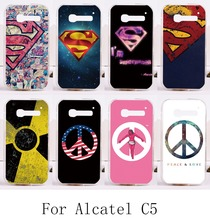 Cool Print Superman America Captain Medal Phone Cases For alcatel c5 one touch pop c5 ot5036 5036d Back Protective Housing Shell