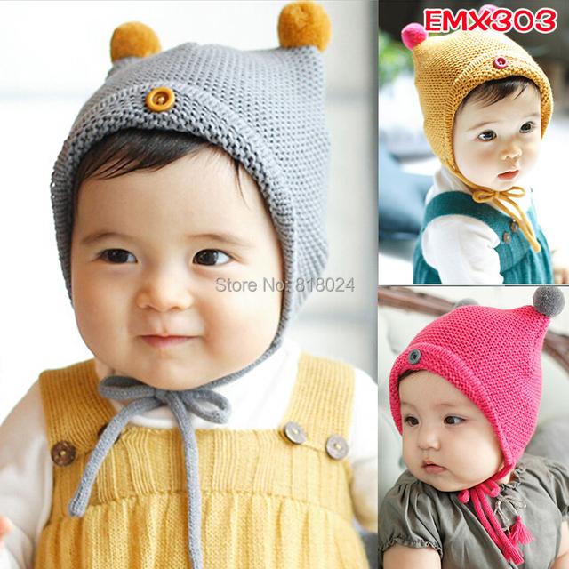 Младенцы шляпа милый вязка крючком зима тёплый шапки для мальчик девочка дети забавно шляпы для 0 - 18 M
