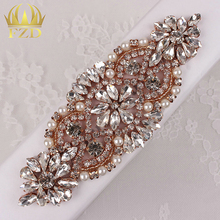 (1piece)Handmade Hot Fix Sew On Beaded Stones and Crystal Rose Gold Bridal Applique for Wedding Sash Headbands(China (Mainland))