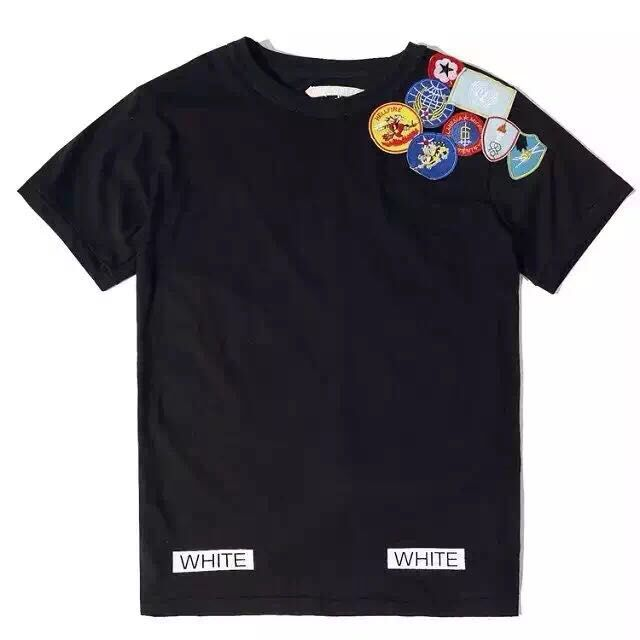 Cool 2015 OFF WHITE Fluorescent large mens Graffiti Series Badge short sleeve cotton tee(China (Mainland))