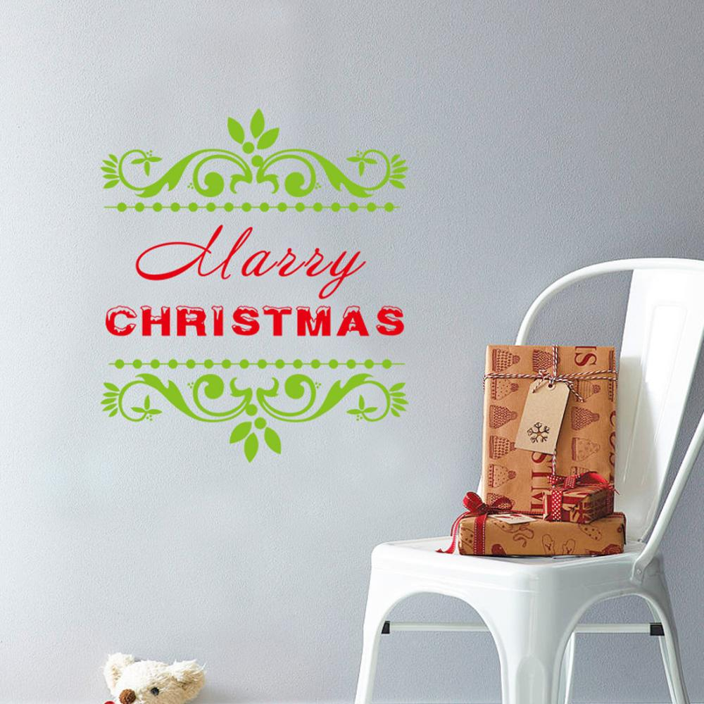 Free Shipping Removable Classical Merry Christmas Vinyl Display Window Showcase Decor Home Kid Room Nursery Wall Stickers(China (Mainland))