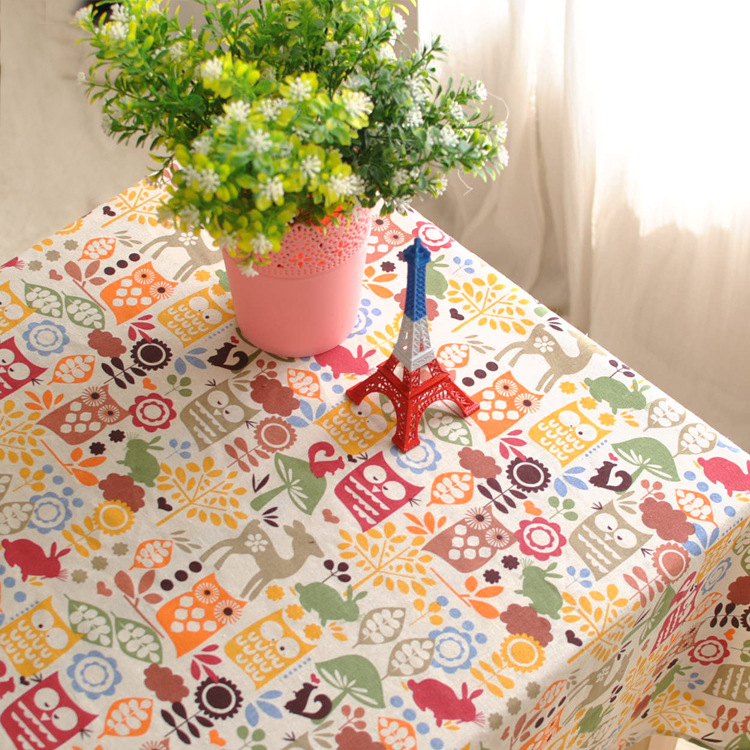 IKEA British cotton linen table cloth tablecloths cartoon owl can be customized table cloths(China (Mainland))