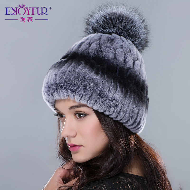 Women winter fur hats rex rabbit fur hat with big fox fur pom poms luxury high-end fur caps 2015 fashion hot sale women beanies(China (Mainland))