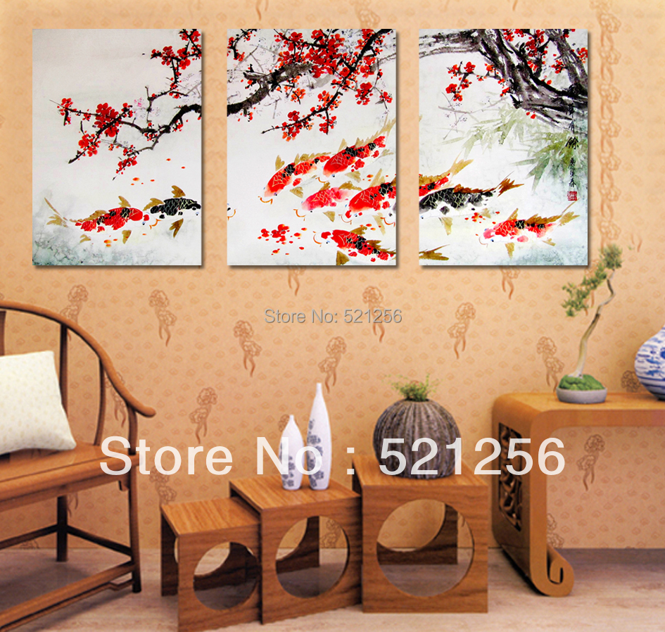 3 Piece Free Shipping Modern Wall Painting Cherry Blossom Koi Fish Home Decorative Art Picture Paint on Canvas Prints A648(China (Mainland))