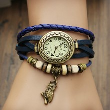 New Fashion Cow Leather Watches with Wooden Bead Retro Little Owl Dress Analog Watch for Women