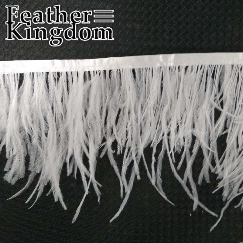 50cm Long 8-10cm 3.5-4inch Wide Ostrich Feather Fringe White Ostrich Feather Trimming Feather Boa Stripe for Party Clothes(China (Mainland))