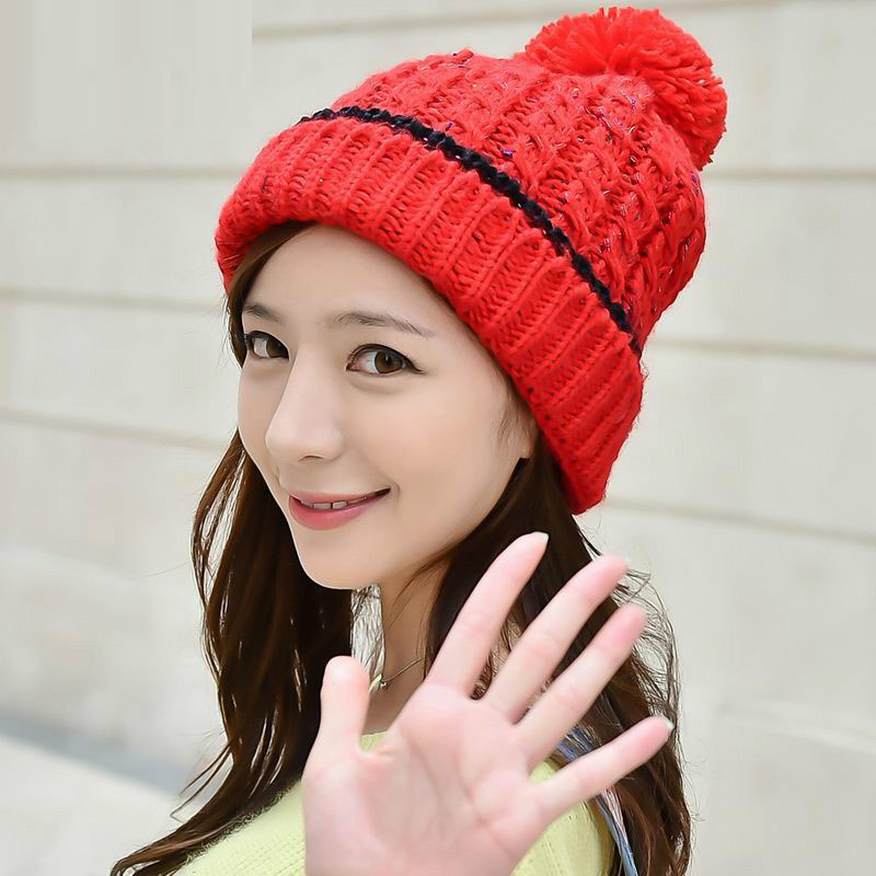 Fall Winter Fashion Womens Warm Thick Patchwork Knitted White Pink Yellow Beige Hats , Ladies Beanies , Fleece Hats For Women(China (Mainland))