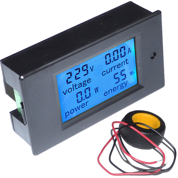4 in 1 Voltage Current Power Energy Meter Gauge AC 80-260V/100A Digital Voltmeter Ammeter+Blue Backlight Free Shipping 12002349(China (Mainland))