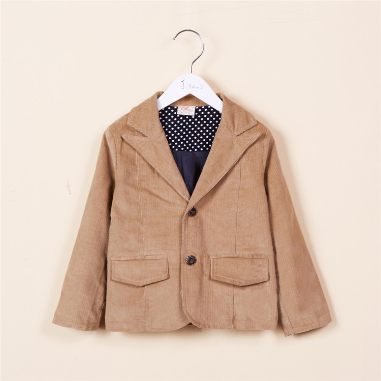 2015 spring and autumn new style baby boys corduroy western style suit little boys fashion coats boys outerwear A2201(China (Mainland))