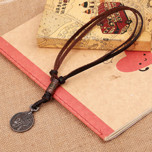 Cool Mens Womens Unisex Charms Choker Genuine Leather Skull Head Punk Vintage Style Pendant Necklaces Fashon