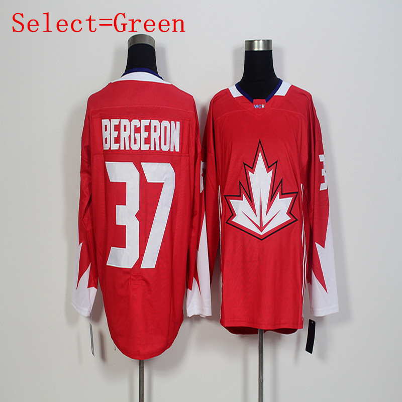 Cheap Men's Canada 2016 WCH #37 Patrice Bergeron Red White Embroidery High Quality 2016 Jersey Free shipping(China (Mainland))