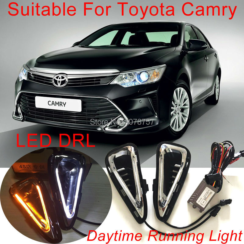 Ultra Bright V-Type Light Guide Design LED DRL Daytime Running Lights With Amber Turn Lights Suitable For Toyota Camry 2015<br><br>Aliexpress