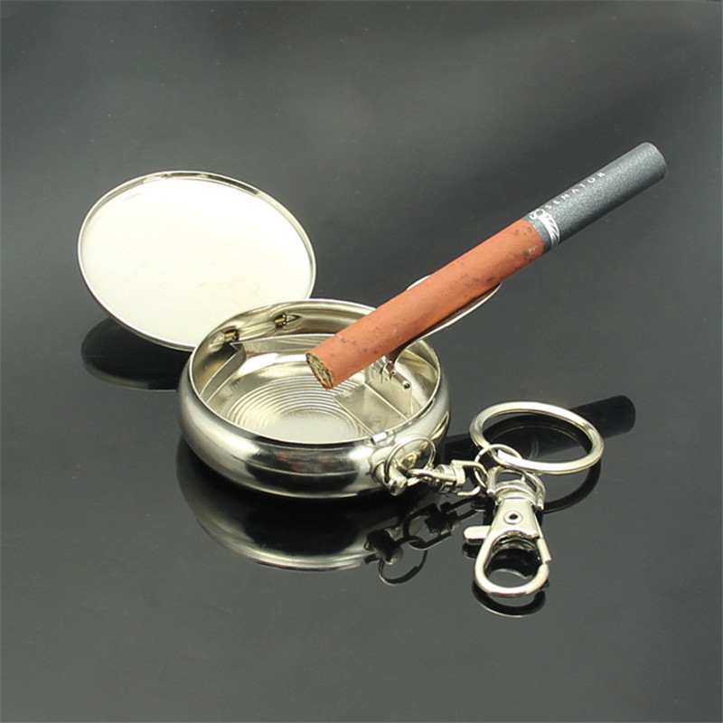 Outdoors Round Cigarette Keychain Portable Ashtrays Stainless Steel Pocket Ashtray free shipping(China (Mainland))