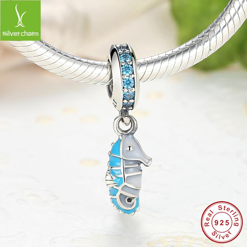 100% 925 Sterling Silver Tropical Seahorse Charm Bead Fit Original Pandora Bracelet Authentic DIY Jewelry(China (Mainland))