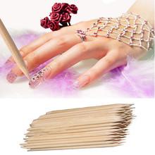Graceful 100Pcs Nail Art Orange Wood Stick Cuticle Pusher Remover Pedicure Manicure Tool JUN20