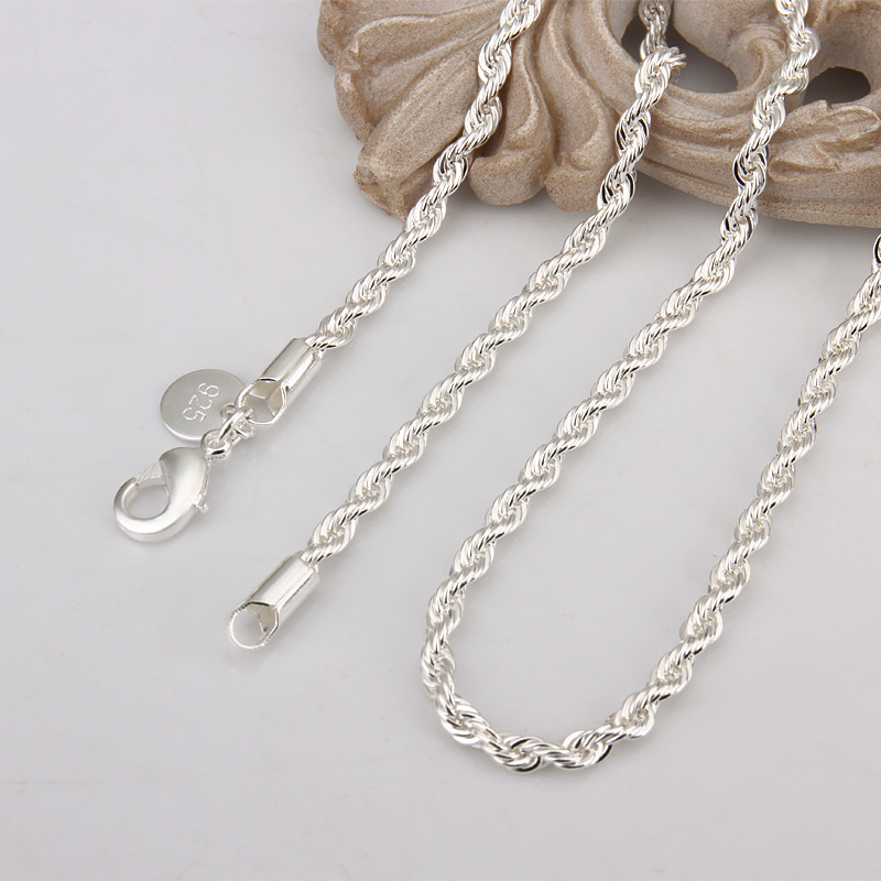 wholesale price 16-24 inch 3 mm twisted chains necklaces 925 sterling sivler jewelry fine silver necklaces for pendants(China (Mainland))