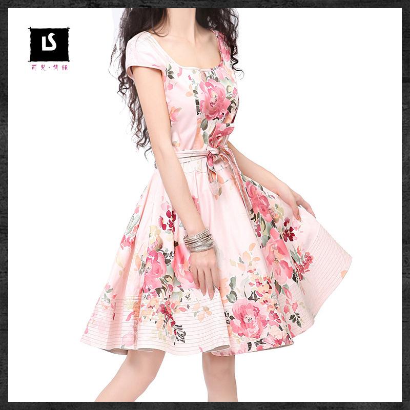 2015 Vintage O-neck  print  belt swing hem dress womens short sleeves dressОдежда и ак�е��уары<br><br><br>Aliexpress