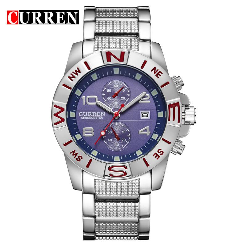 CURREN brand design new 2016 sport steel clock quality steel military man male luxury gift wrist quart business army watch 8038(China (Mainland))