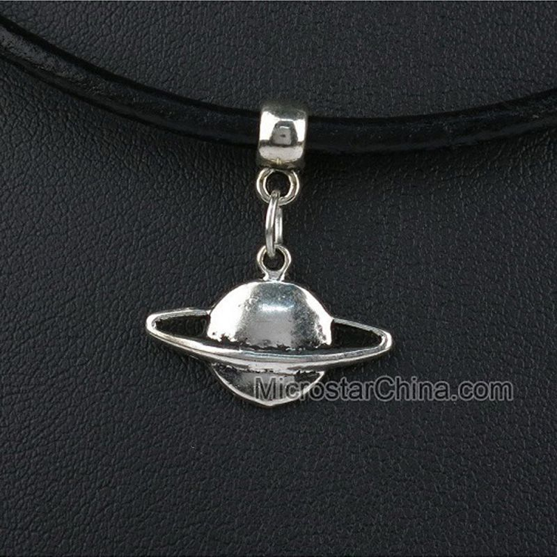 Hot Vintage Popular Silver Leather Cord Choker Necklace  Hippy Chick Charms Necklace PLANET 15