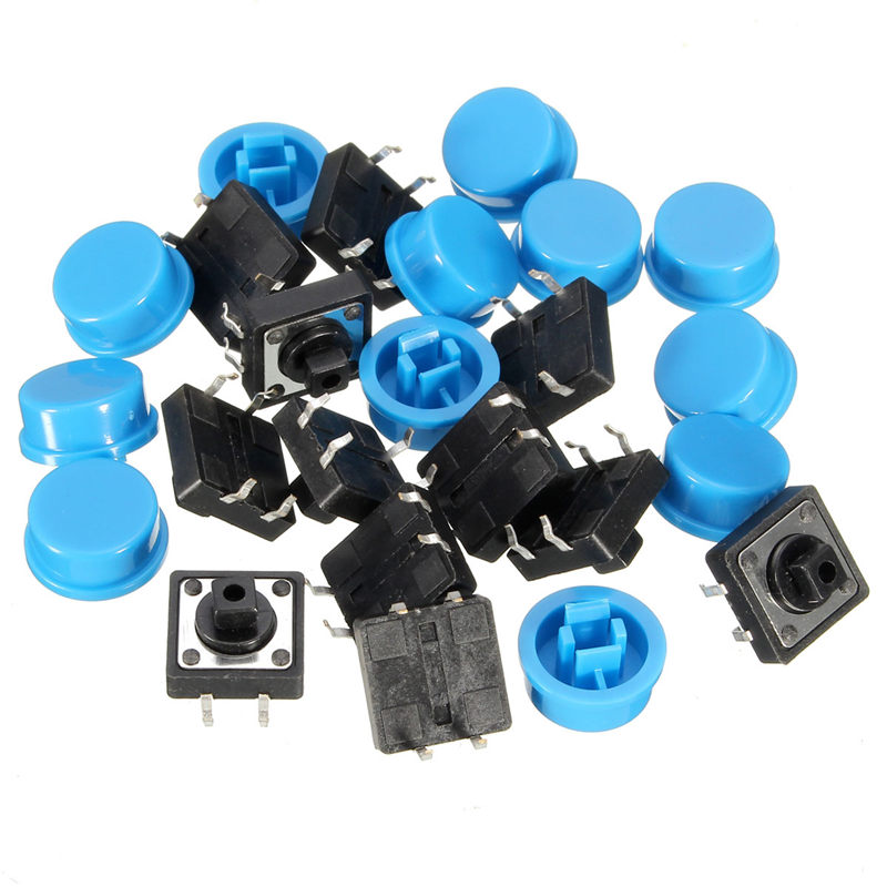 20pcs 4Pin Blue Tactile Push Button Switch Momentary Tact Caps Used in the Fields of Electronic Products Waterproof Favorable(China (Mainland))