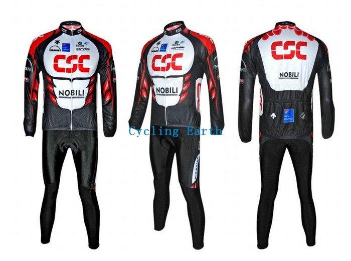 Free shipping!!! 2010 CSC NOBILI long sleeve cycling wear clothes bicycle/bike/riding jerseys+pants sets(China (Mainland))