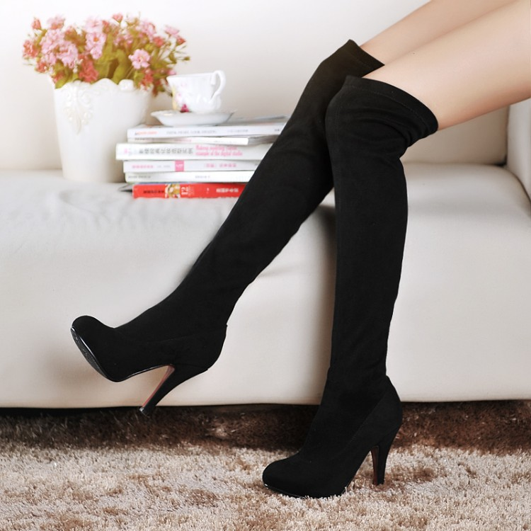Fashion Jackboots Over The Knee Boots For Women flock Suede Upper Stretch Fabric Slim Boots Factory Price!Free Shipping!