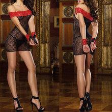 Women's Sexy Lingerie Night Sleepwear Lace Off Shoulder Dress G String Handcuff