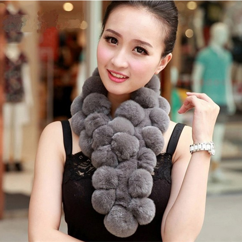 Lady Fashion Winter Genuine Rex Rabbit Fur Scarves Women Fur Pashmina Wraps Neck Rings VK2235(China (Mainland))
