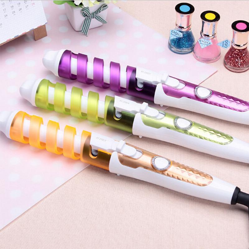 Electric Magic Hair Styling Tool Rizador De Pelo Hair Curler Roller Pro Spiral Curling Iron Wand Curl Styler EU US Plug(China (Mainland))