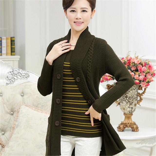 quinquagenarian Женщины's twinset свитер кардиган mother cloТонкийg свитер outerwear ...