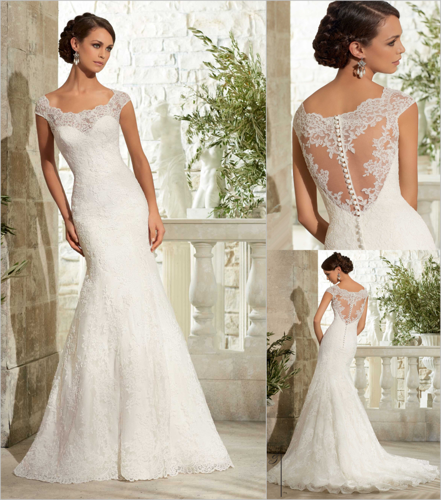 Romantic Bridal Gowns : Romantic lace mermaid wedding dresses cap sleeve