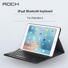 """For ipad mini 4 7.9"""" Bluetooth Keyboard leather case ROCK pu leather Cover Protective Bluetooth Keyboard Case for ipad mini4(China (Mainland))"""