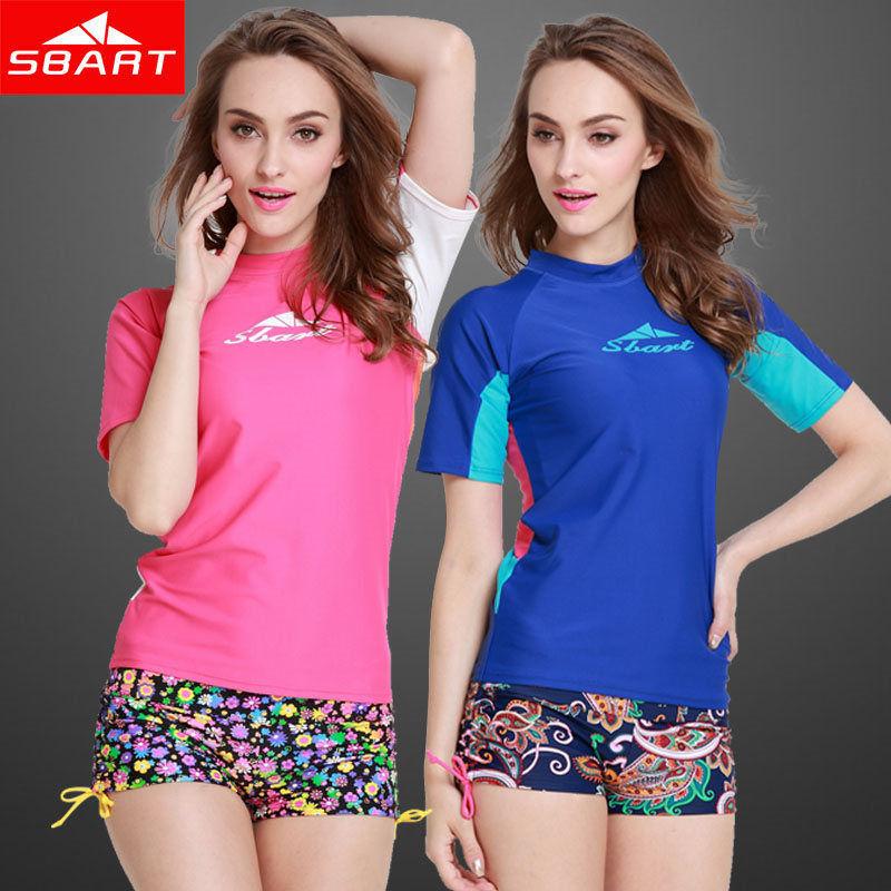 SBART Women Rash Guard Rashguard Swim Shirts Short Sleeve UPF50+ UV Lycra Surf Top Dive Swimming Suits Rushguard T Shirt Sale H(China (Mainland))