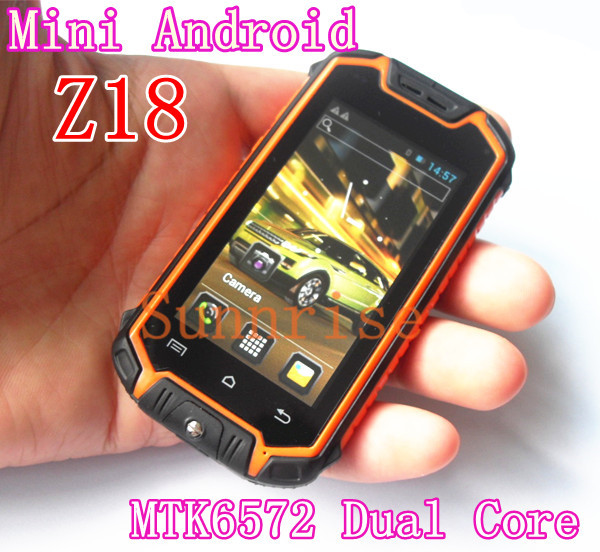 Mini Android Phone 2.8'' Z18 MTK6572 Dual Core Dual Card Shockproof Dustproof Cheap Outdoor Smart Mobile Small Hummer H1 V5(China (Mainland))
