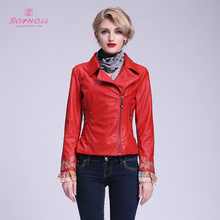Women Red Leather Jacket with Flowers Pattern Embroidery Coat Brand Boruoss 2015 Spring&Autumn Fashion Jacket short coat s040(China (Mainland))