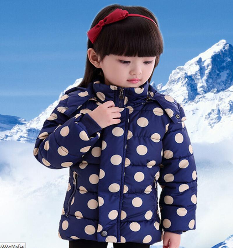 Hooded Polka Dot Patchwork Cotton Coat Girls Kids Cotton Padded Jackets  50<br><br>Aliexpress
